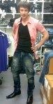 me wearing Scuba Elwood drop crotch in the stock room